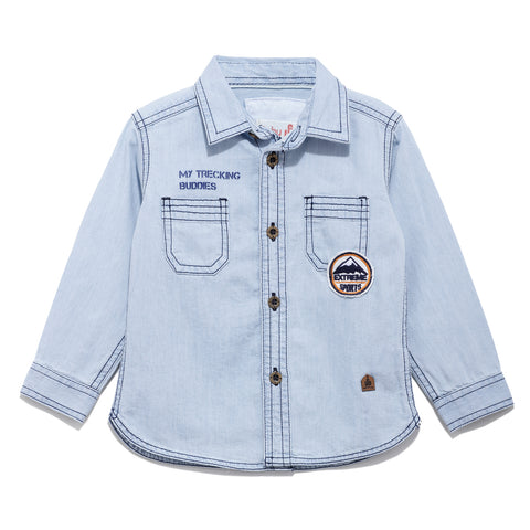Boys Solid Denim Full Sleeve Shirt With Light Wash SS20-KF-INF-1120 Blue