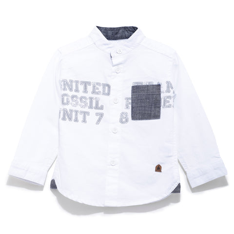 Boys Cotton Solid Full Sleeve Shirt With Chest Print SS20-KF-INF-1121 White
