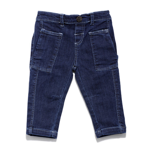 Infants Solid Denim Full Pant SS20-KF-INF-1131 Blue