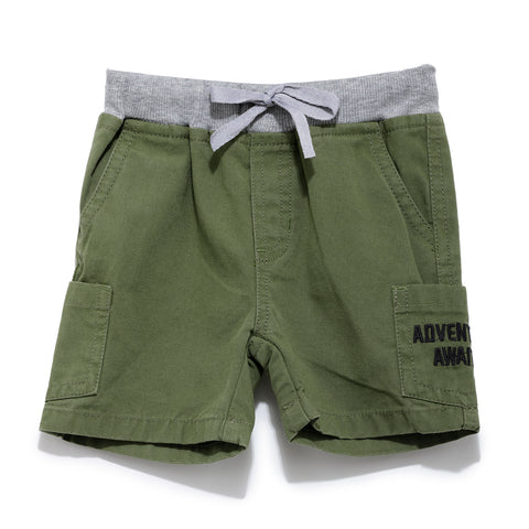Boys Cotton Solid Short With Rib Waist Band SS20-KF-INF-1136 Green