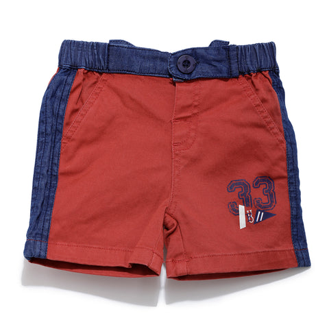 Boys Cotton Solid Short With Contrast Waist Band SS20-KF-INF-1137 Red