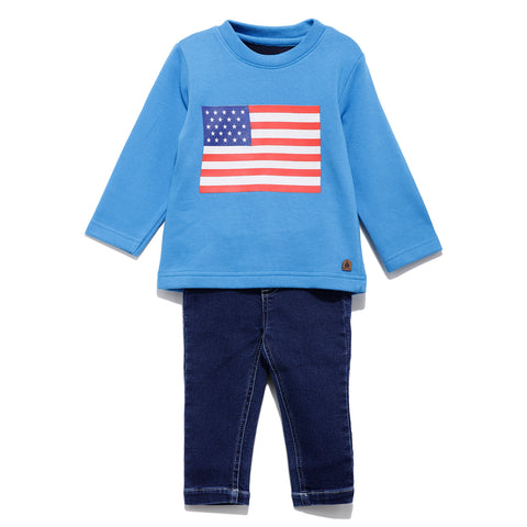 Infants Solid Full Sleeve T-Shirt  With Pant SS20-KF-INF-1148 Blue / Navy