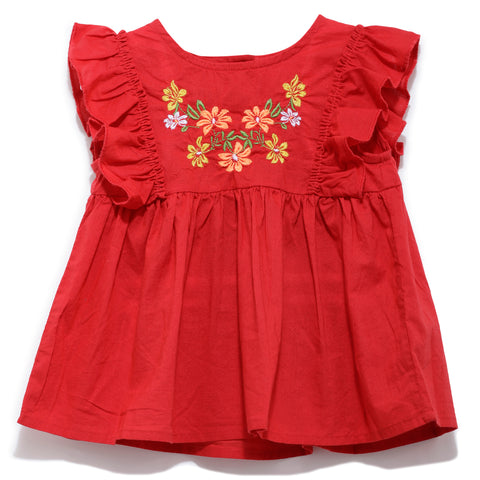 Girls Solid Cap Sleeve Dress With Front Embroidery SS20-KF-INF-1423 Red
