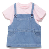 Girls Solid Cotton Knit Half Sleeve T-Shirt With Denim Dungaree SS20-KF-INF-2172 Pink / Blue