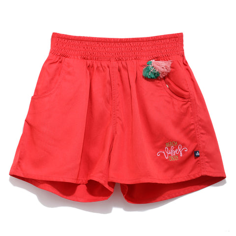 Girls Cotton Solid Shorts SS20-NDF-GKT-18073 Red
