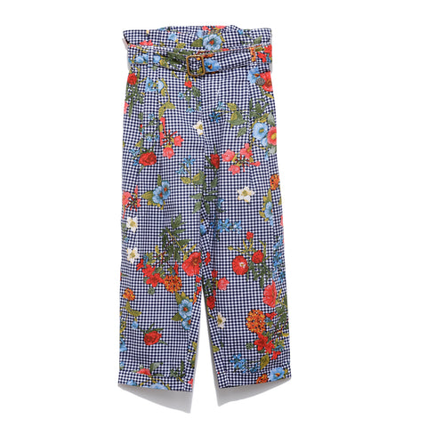 Girls Check & Floral Printed Pant SS20-NDF-GKT-20015 Navy