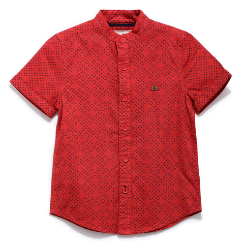 Boys Printed Dobby Half Sleeve Shirt SS20-WF-BKT-17034 Red