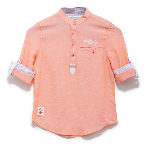 Boys Solid Cotton Full Sleeve Shirt With Mandarin Collar SS20-WF-BKT-17037 Orange