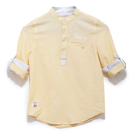 Boys Solid Cotton Full Sleeve Shirt With Mandarin Collar SS20-WF-BKT-17037 Yellow