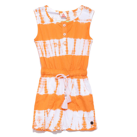 Girls Cotton Tie & Dye Dungaree SS20-WR-GKT-18099 Orange