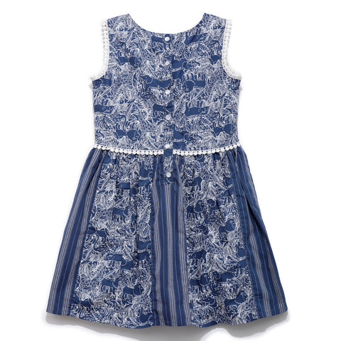 Girls Cotton Printed & Stripe Sleeveless Dress SS20-WR-GKT-20028 Navy