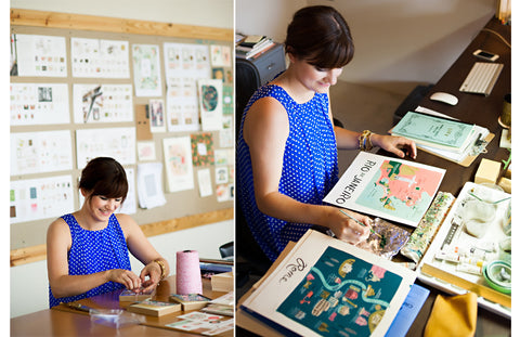 Anna Bond at work - Rifle Paper Co (Image from www.theeverygirl.com)
