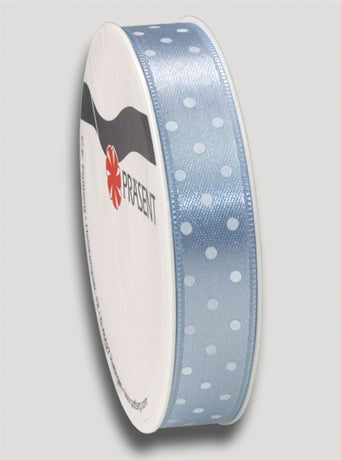 3m Mini Dots Ribbon 15mm - Light Blue