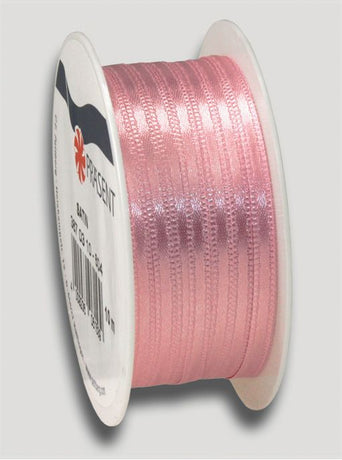 10m Satin Ribbon 3mm - Soft Pink