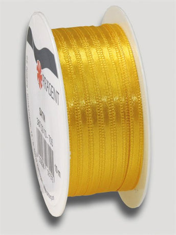 10m Satin Ribbon 3mm - Yellow