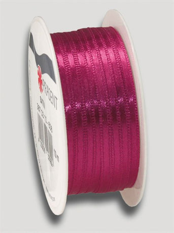 10m Satin Ribbon 3mm - Dark Pink