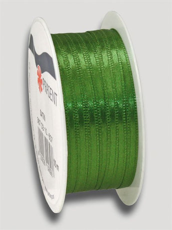 10m Satin Ribbon 3mm - Dark Green