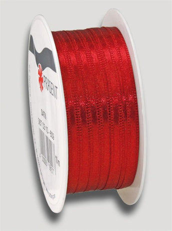 10m Satin Ribbon 3mm - Red