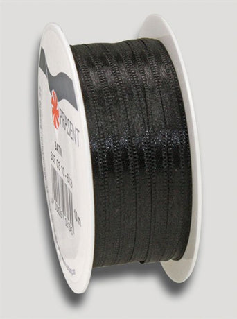10m Satin Ribbon 3mm - Black