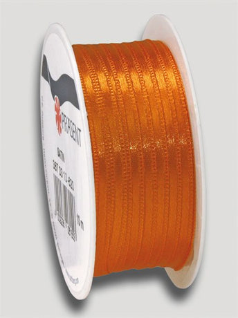 10m Satin Ribbon 3mm - Orange