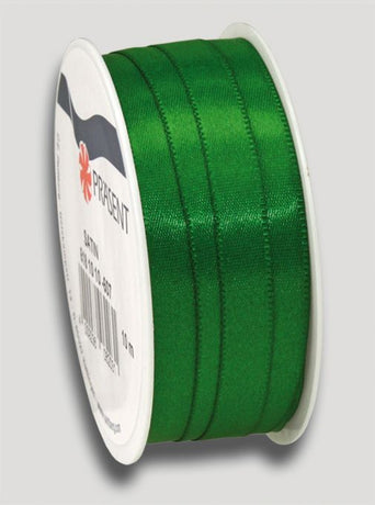 10m Satin Ribbon 10mm - Dark Green