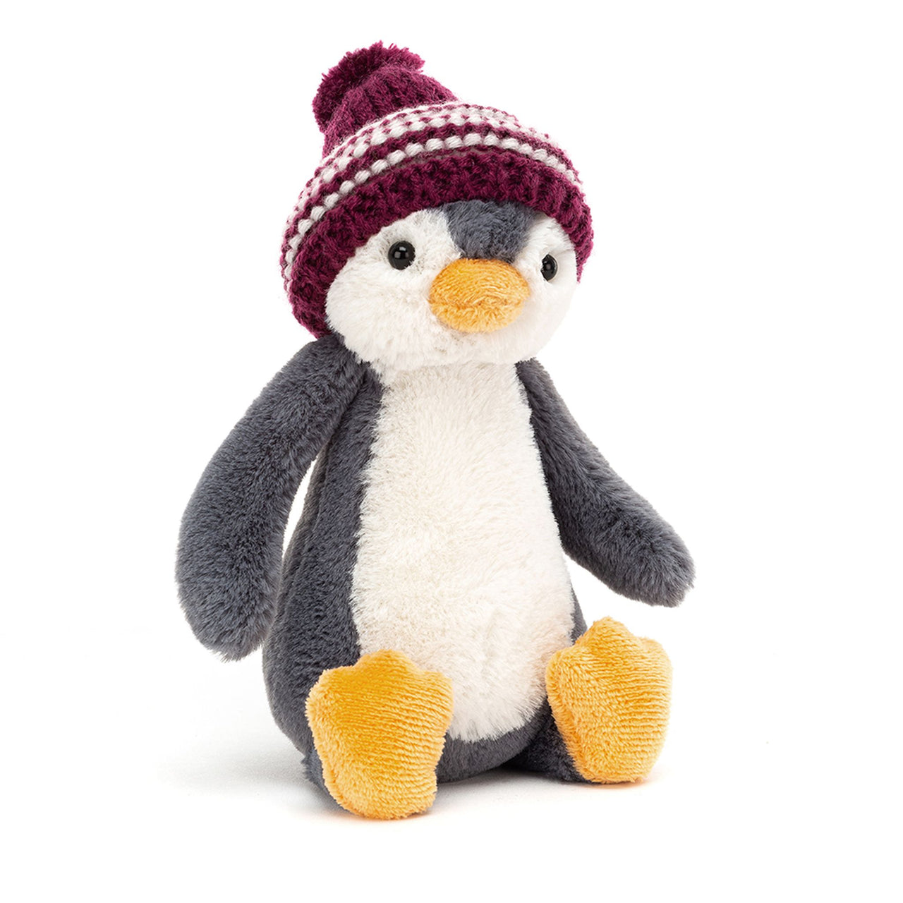 Jellycat Bashful Bobble Hat Penguin Burgundy
