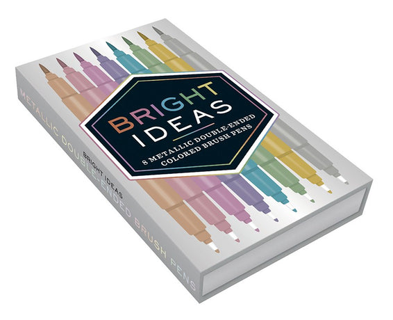 Bright Ideas - Metallic double ended brush pens x 8