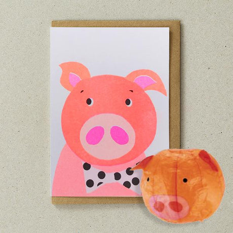 Petra Boase - Pig Paper Balloon Card