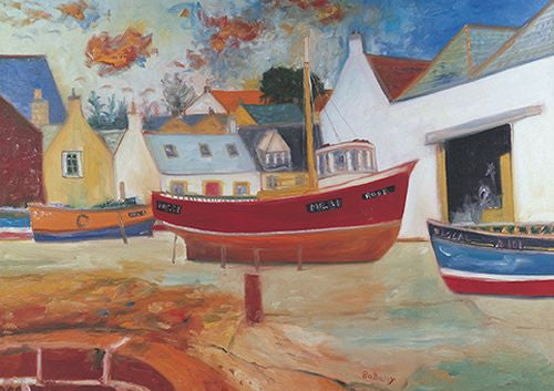 Royal Academy - John Bellany - Boats in Harbour