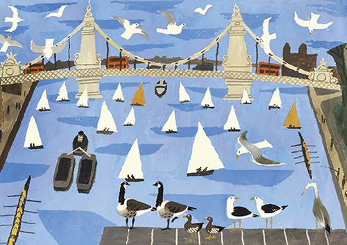 Royal Academy - Julian Trevelyan - Sailing boats and Bridge