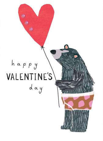 Stop The Clock - Happy Valentine's Bear With Balloon