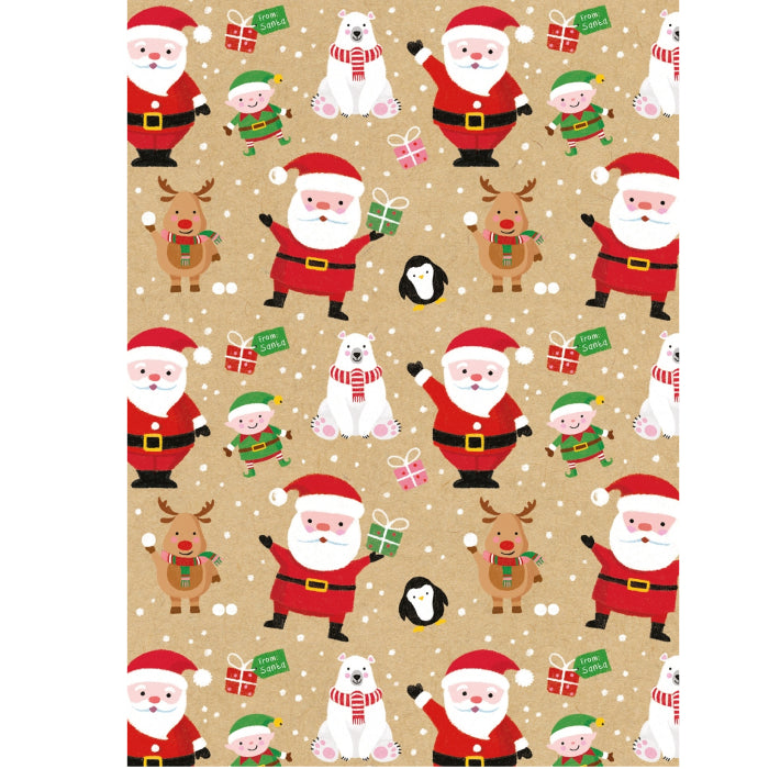 Glick - Santa's Helpers Wrap 4m - Kraft (Collection & Delivery)