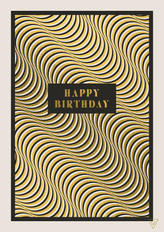Art File - Happy Birthday Gold Pattern