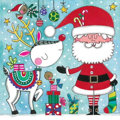 Rachel Ellen - Santa and Reindeer Jigsaw Card
