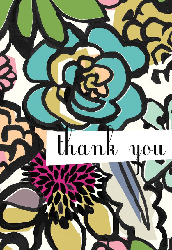 Ink floral thank you notes