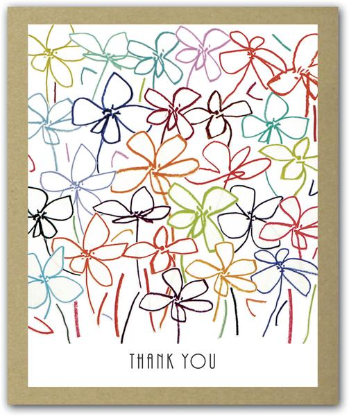 Field of flowers thank you notecards x 16