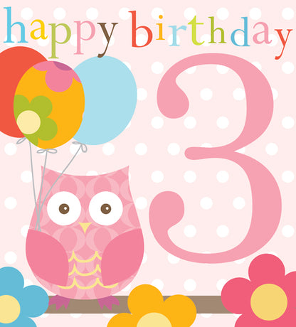 Think Of Me - 3rd birthday owl