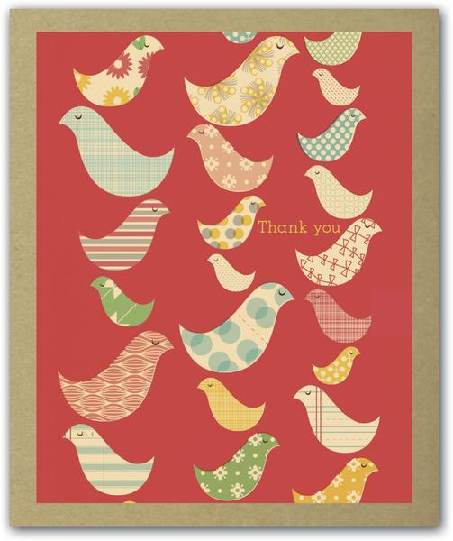 Birds of a Feather thank you notecards x 16