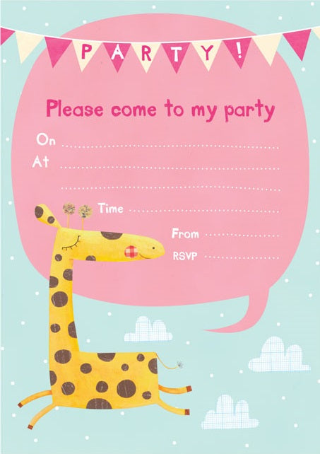 Giraffe Invitations x 8