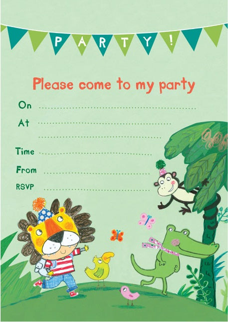 Jungle Invitations x 8