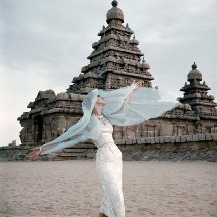 Norman Parkinson - The Shore temple at Mahabalipuram, Vogue 1956