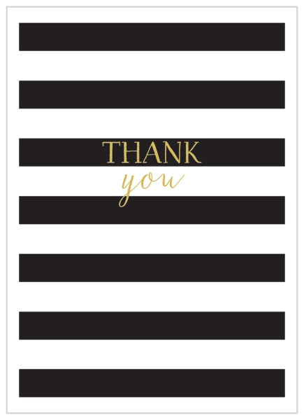 Black and White Stripe Thank you x 8