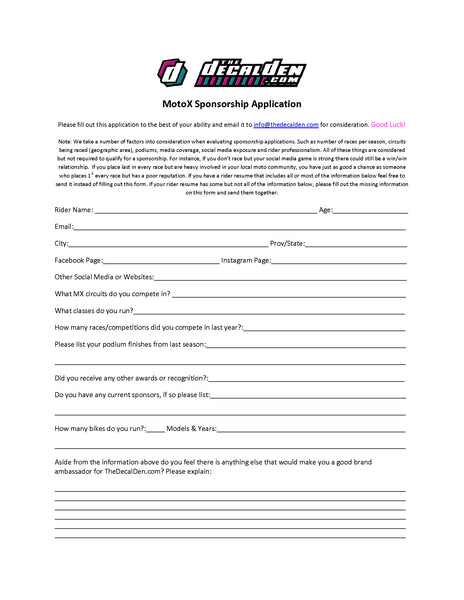 MX Wrap Sponsorship application