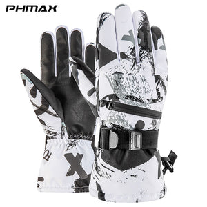 PHMAX Ski Gloves Men Winter Windproof Snowboard Gloves Women Thermal Fleece Heated Gloves Waterproof Touch Screen Skating Gloves