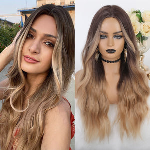 Best synthetic wigs with white lace front & dying synthetic hair, Ombre Brown to Blonde Wigs with Middle Part Heat Resistant Fiber for Women