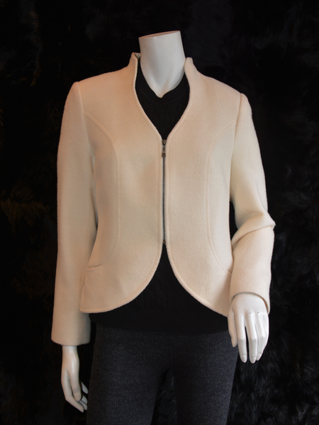 Heart Neck Line Coat White