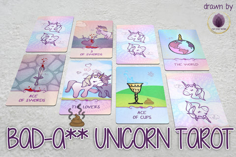 BadA** Baby Unicorns Tarot Cards | Magic Spiritual Divination Tools for Psychic Readers | Cartoon Comic Funny Drawing Art Unicorn Tarot Deck