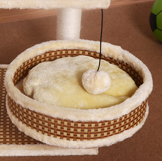 Sisal cat climbing frame small cat solid wood cat litter cat tree cat - World Pet Lovers