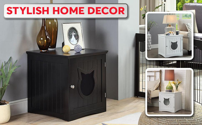 Cat House Side Table, Nightstand Pet House, Litter Box Enclosure, - World Pet Lovers