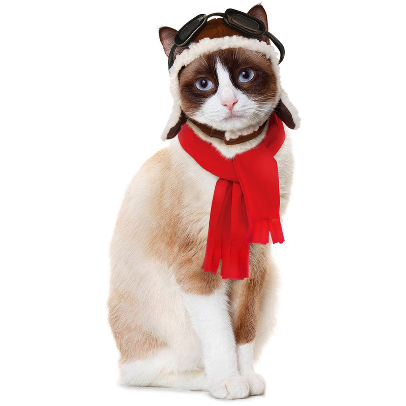Aviator Hat And Scarf Cat Costume - World Pet Lovers